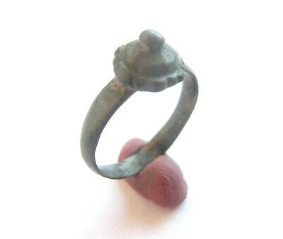 Ancient CELTIC Bronze Ring w/ ***CROWN*** form Bezel- La Tene period WEARABLE!!!