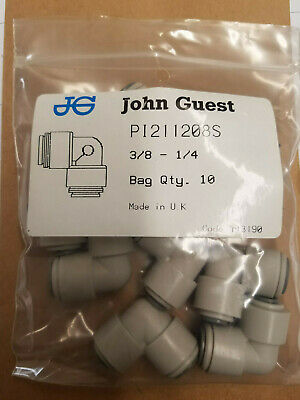 NEW John Guest PI211208S Reducing Elbow 3/8 x 1/4 (10 Pack)