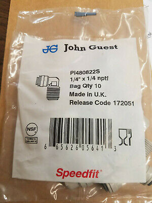 NEW John Guest PI480822S Elbow 1/4 x 1/4 NPTF 10 Pack