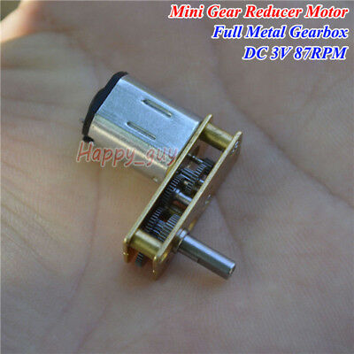 Micro 7-Type N20 Full Metal Gearbox Gear Reduction Motor DC 3V 87RPM Slow Speed
