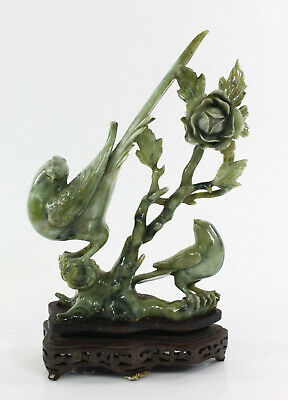 Chinese Carved Green Stone (Jade? Serpentine?) Figure of Two Peacocks & Flower