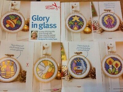 (X5) Stained Glass Window Nativity Decorations Christmas Cross Stitch Chart