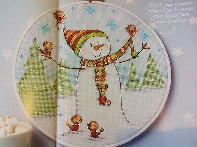 (X5) Frosty Friends Snowman Robin Snowflake Christmas Cross Stitch Chart