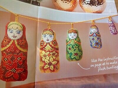 (X5) Flower Patterned Russian Doll Decorations Christmas Cross Stitch Chart