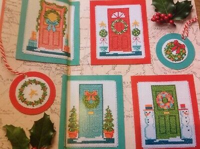 (X5) Festive Door Wreath Cards Gift Tags Christmas Cross Stitch Chart