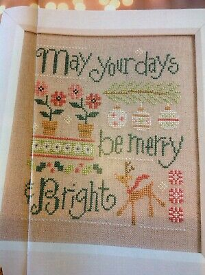 (X5) Merry And Bright Rustic Reindeer Sampler Christmas Cross Stitch Chart