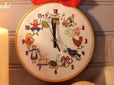 (X5) 12 Days Of Xmas Motifs Clock Christmas Cross Stitch Chart