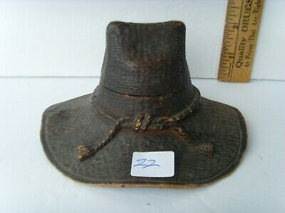 Antiq Western U.S. Folk Art Hand Carved Cavalry Hat Wooden Ink Well Holder 60/22