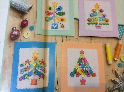 (X5) Button Bauble Xmas Tree Cards Christmas Cross Stitch Chart