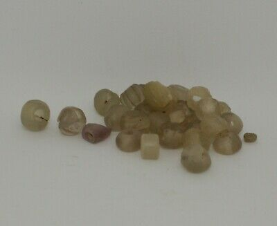 Ancient Roman Gold Colour Glass Beads Circa 2Nd Century Ad   909