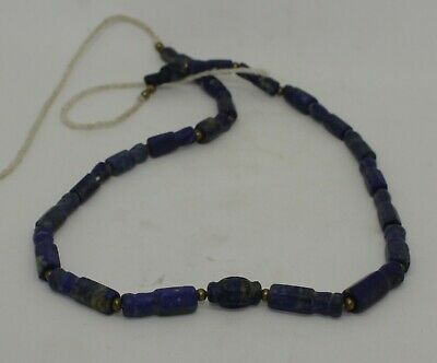 Ancient Carved Lapis  Bead Necklace - 2232