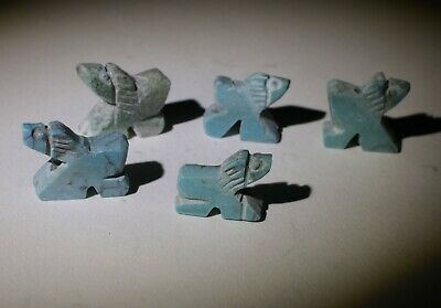 5 X Ancient Bactrian Turquoise Amulets,  Circa 1000Bc   0761