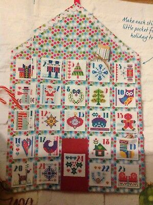(X5) Folk Art Motifs Advent Calendar Christmas Cross Stitch Chart