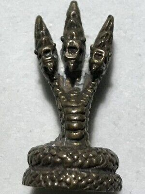 Phraya Naga/Serpent 3 Head Phra Lp Rare Old Thai Buddha Amulet Pendant Magic#15