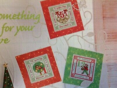 (X5) 12 Days Of Xmas Carol Cards Christmas Cross Stitch Chart