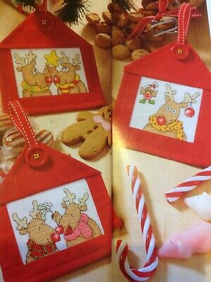(X5) Reindeer Cards Robin Star Mistletoe Bauble Christmas Cross Stitch Chart