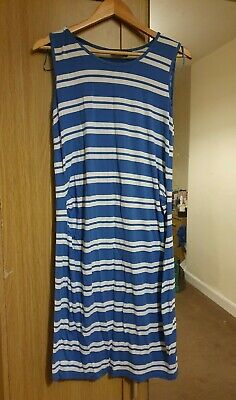 Blooming Marvellous Blue White Stripe Summer Maternity Comfy Dress Size 12