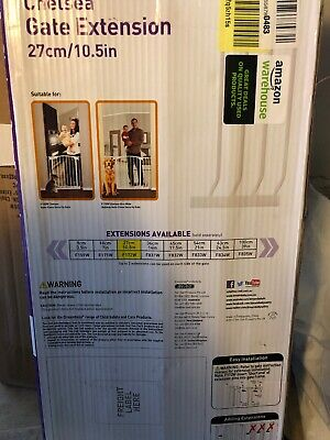 """Dream Baby 10.5"""" Extension for Standard Chelsea Gate (not included), White"""