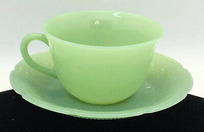 "1 Mint Fire King Jadeite ""Alice"" Cup And Saucer Set Anchor Hocking"