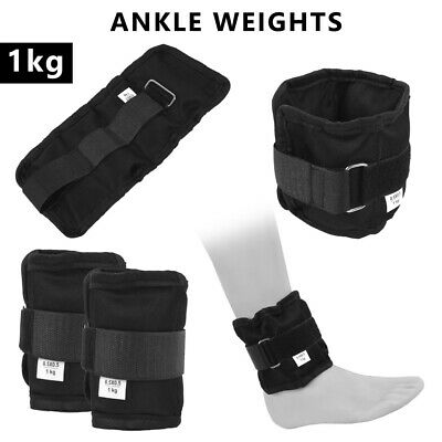 4Fit™ Adjustable Ankle Weights Pair 1 Kg Wrist Arm Leg Running Exercises - pair