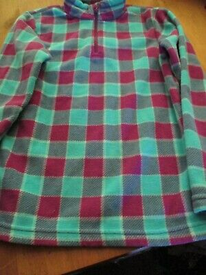 Girls Blue & Purple Checked Fleece Top Age 10 Yrs From Quechua - Used