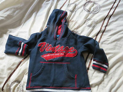 boys boy jumper hooded top age 5 years adams navy and red says vintage