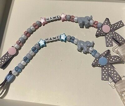 Personalised Elephant Dummy Clip .. 🐘 Any Name.. Any Colour.. 🐘