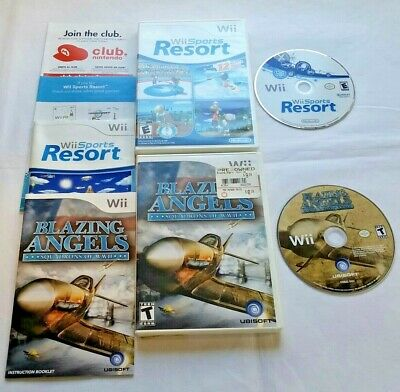 Lot of 2 Complete Nintendo Wii Games Wii Sports Resort & Blazing Angels Tested