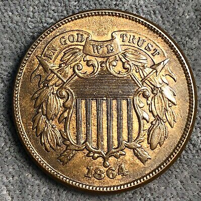 1864 Two Cent Piece. Large Motto.