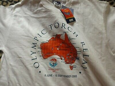 Sydney Olympics 2000 - torch relay route map T-shirt ~ NEW ~ Original