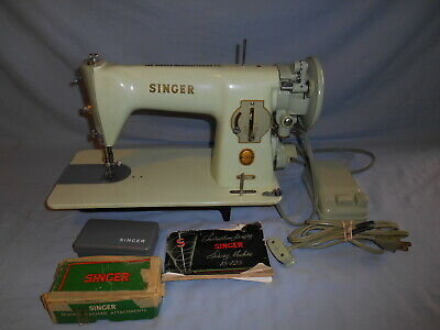 Vintage 1956 Green Singer Sewing Machine Model 15-125 w/Manual & Attachments