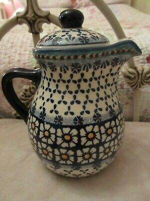 Vintage Polish Pottery Tea Pot Daisies Pattern Blue White Red Dots