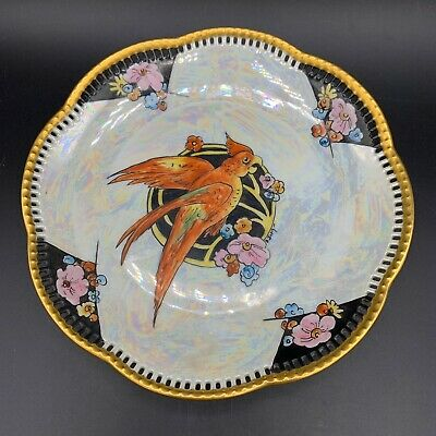 Vtg Porcelain Reticulated Schumann Bavaria Hand Painted Bird Signed Judy Plate