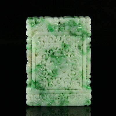Chinese Exquisite Hand-carved flower Carving jadeite jade Pendant
