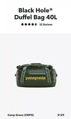 Patagonia Black Hole 40L Duffel Travel Bag, 40L Camp Green, Brand New With Tags
