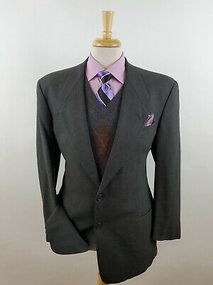 Giorgio Armani Le Collezioni Sport Coat Jacket Men's 46L Gray Wool Windowpane