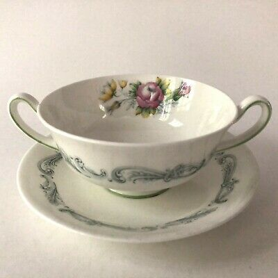 ROYAL DOULTON Bone China CHANTILLY ROSE Cream Soup Double Handle and Saucer Set