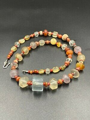 ANCIENT WESTERN aSIATIC bANDED aGATE aND sTONE bEADS necklace