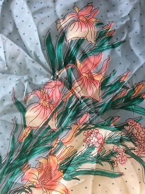 Womens Vintage 100% Silk Scarf Finely Detailed Flowers Hand Rolled Hand Printed