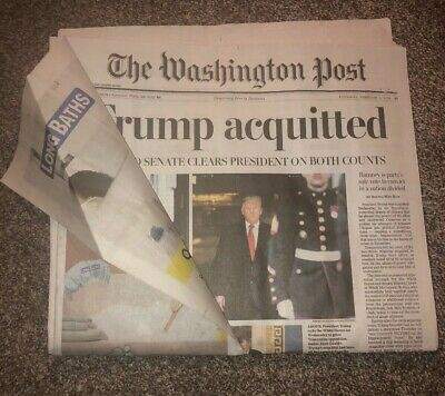 Mint TRUMP Acquitted Impeachment Washington Post Newspaper 2/6/2020 Never Read