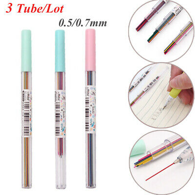 50pcs automatic mechanical pencil refill color lead school stationery 0.5//0.7 BR