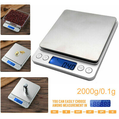 2kg/0.1g Jewellery Kitchen Food Scale Digital LCD Electronic Balance Scales