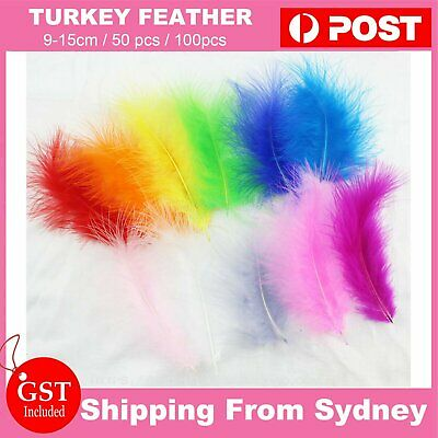 UP TO 100X Fluffy Turkey Feathers 9-15cm DIY Craft Dream Catcher Balloon Feather