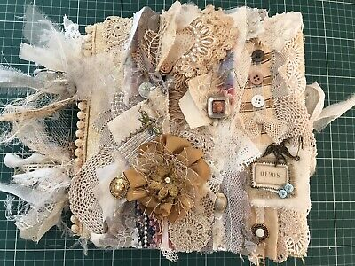 Junk Journal - Hand Made Shabby Chic Doilies Lace Ephemera Vintage Book Pages