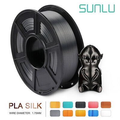 SUNLU 3D PLA Silk Black Grey Printer Filament 1.75mm 1kg Supplies No Bubble