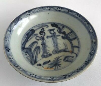 Chinese Ming Dynasty Hongzhi 15th Century Blue White Ladies Garden Motif Plate