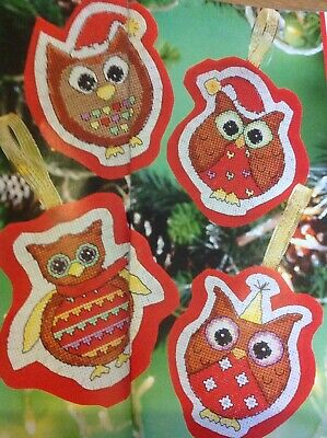 (X5) Festive Owl Decorations Christmas Cross Stitch Chart