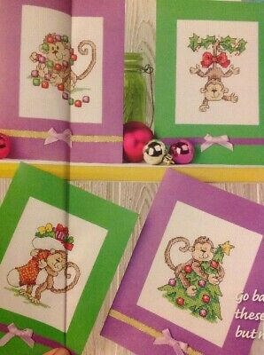(X5) Monkey Cards Tree Baubles Stocking Holly Christmas Cross Stitch Chart