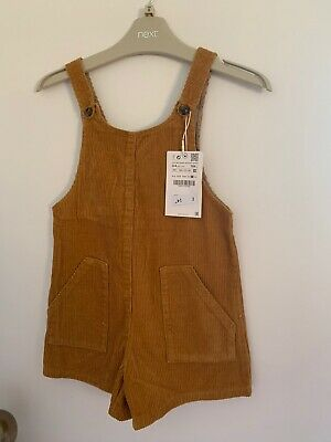 Zara Girls 3-4 Years Mustard Cord Playsuit Short Dungarees *sold Out* Bnwt