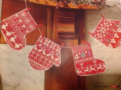 (X5) Scandi Sampler Mitten Stocking Bunting Christmas Cross Stitch Chart